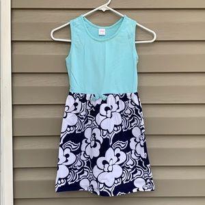 Gymboree girls sleeveless blue& navy knit dress